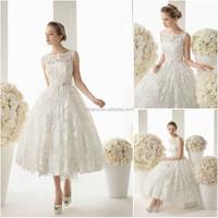 Elegant ball gown lace tea length wedding dress patterns BD154