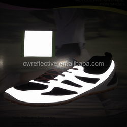 high visible accessory reflective pu leather for the sports shoes material