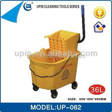 36L big capacity plastic bucket for cleaning mop double wringer mop bucket ,UP-062