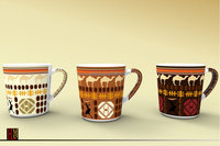 high quality 11OZ egypt style coffee bean design horn shape decals printed ceramic coffee mugs with handle decals KL86-3
