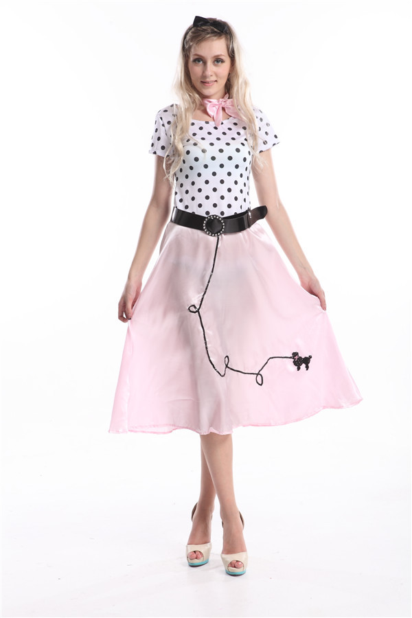 cosplay di halloween 50s hop barboncino rosa rock n roll grasso donne costume sexy donne