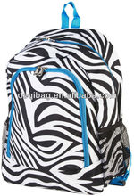Fashion wholesale Black And White Zebra Animal Print Blue Trim Padded Backpack Travel School Book Bag for teenagers