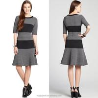 women grey and black knit dress striped three quarter sleeve dress fit and flare dress
