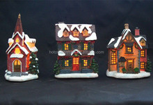 Polyresin Scaled House, LED Light Resin Building, Christmas Decoration Item