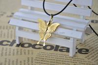 GORGEOUS 24 Karat Gold Filigree Butterfly Pendant & Chain
