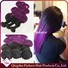 Unprocessed 100% human ombre hair braiding hair purple black two tones ombre color body wave brazilian hair extensions