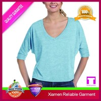 Organic cotton deep v neck women t shirt 100% Pre-shunk good quality China supplier