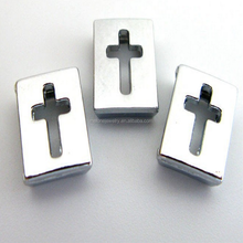 2015 alloy hollow cross 8mm slide charms latest design beads