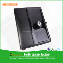 High Quality a4 zip leather portfolio/folder with calculator and notepad in china!!!