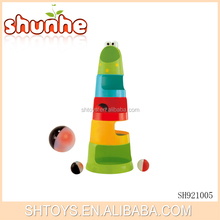 Education funny baby toy plastic stacking cups with drop ball