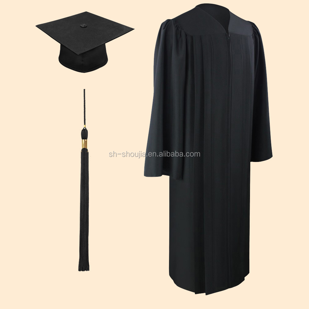 Matte Black Bachelor Graduation Cap And Gown,Graduation Cap And Gown ...