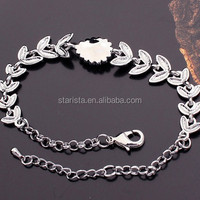Celebrity 18K White Gold Plated Crystal Note of the Leaves Chain Link Bracelets For Women