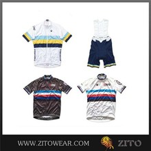 Classic design white cycling jersey quick step with 3D Cushion Padded