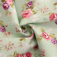 50cmx150cm/piece pretty light green flower cotton fabric home textile tilda patchwork quilting clothing dress sewing bedding