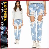 Destroyed women denim jeans wholesale price (LOTW001)