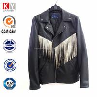 clothes of fashion fringe faux leather men's coat