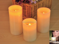 3 Pieces Flickering Flame Mood Lights Real Wax Blow ON-OFF LED Candle