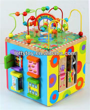 Wooden indoor activity cube toy
