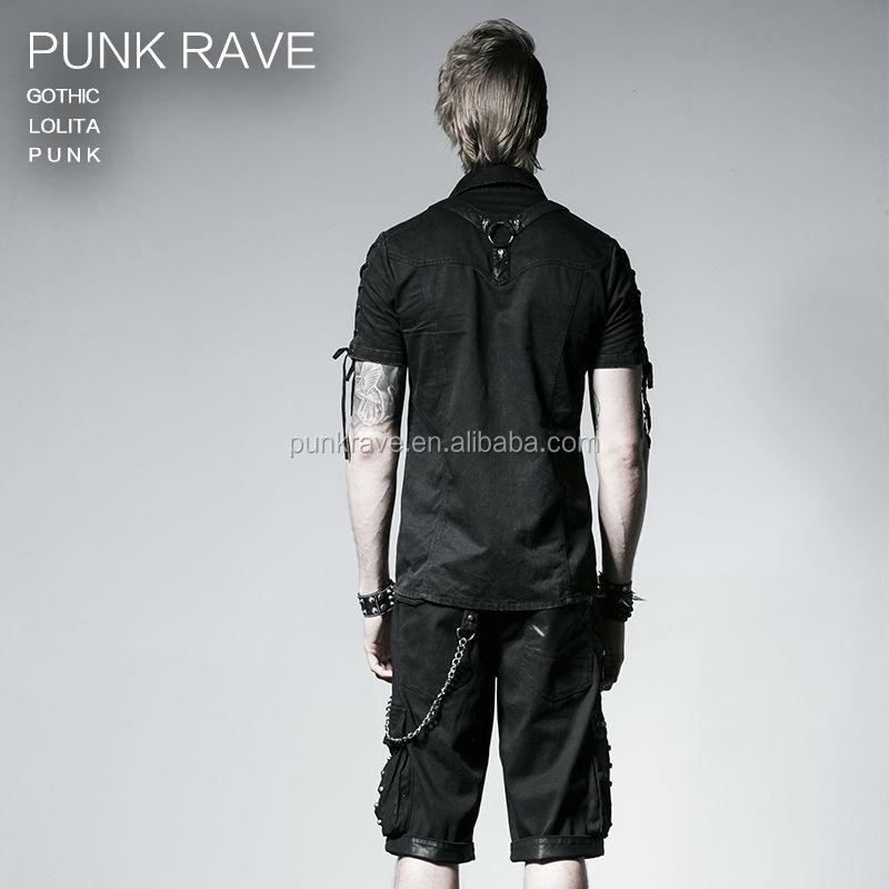 Punk Men Form Fitting Version Short Sleeve Shirts Y 530