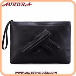 Guangzhou 3D gun pistol bag leather women clutch bag