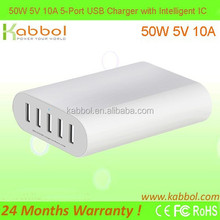 50W 5V 10A 5 in1 USB Charger by Kabbol for 5-port Desktop USB Charging Station for All USB Devices like Phones, Cameras