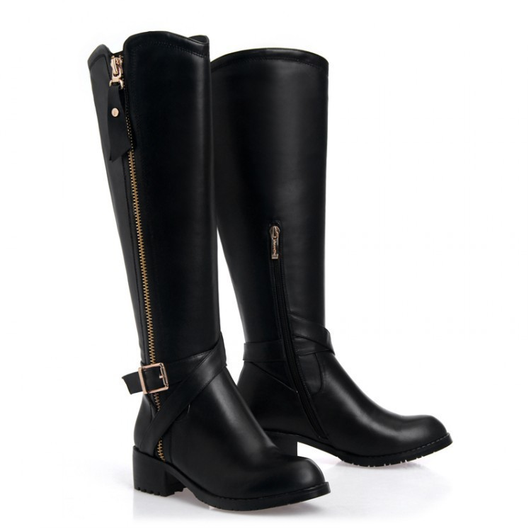Free Shipping Sexy Women Flats Genuine Leather Knee-length Boots