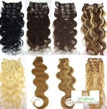 1set clip in synthetic hair extension body wave 100peruvian virgin human hair 7pcs/set 12inch to 32inch 100grams