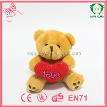 Happy Island CE bear plush toy with red heart,cute bear plush toy ,cheap bear plush toy