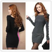 EUROPEAN STYLE LADIES LONG SLEEVE SWEATER DRESS
