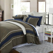 the new design 3-Piece Grasten Brown Woven Stripe Poly/Viscose Twin Duvet Covers