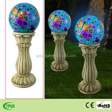 Hot garden solar light polyresin roman pillar with dragonfly for outdoor decoration led lights