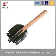 Tailun High Strength A3 Steel Long Wooden Handle Iron Folding Shovel With Pickaxe