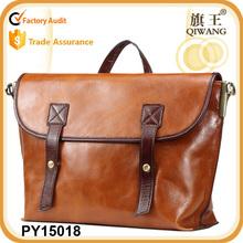 hign quality unisex oil wax genuine leather messenger bag