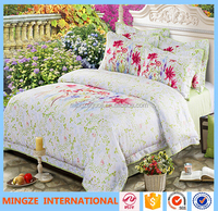 100% cotton reactive printed beautiful flower quilt cover set