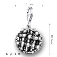 New Model Food Antique Silver Plated Lobster Clasp Round Pie Charms Jewelry