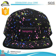 wholesale 100% cotton custom logo 5 panel hats with colorful print design