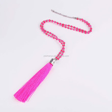 fashion acrylic beaded long chain rose red tassel pendant necklace