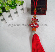 Coloured glaze gourd pendant/hanging with glass beads for car/home decoration/keychain