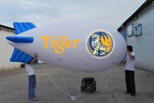 Custom 4mL nice shape white inflatable advertising helium blimp with banners