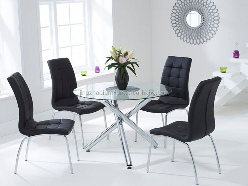 Dt 2063 Modern Round Black Glass Dining Table And Chair Set Buy Dining Tabl
