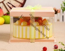 Food grade PET material with paper card 10inch cake boxes