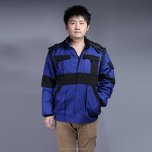 100%cotton blue work padding coat with pastic zipper and metal buckles safety