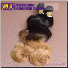 2015 New Style remy human hair weft color 1b/27 brazilian vergin hair