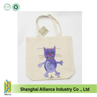 Promotional cheap hand painted cotton canvas shoulder bags/Wholesale custom design cute cats canvas tote shopping bags
