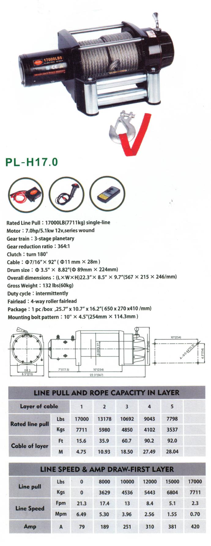 Wireless 17000lb 12V manual winch