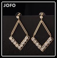 Geometric Shape Jewelry Gold Plated With AAA Zircon Stone Hanging Earrings Basketball Wife Exaggerate Earrings