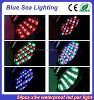 Dmx 512 stage lighting wash 54 3w rgbw ip65 waterproof 54x3w led par