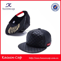 leather snapback blank hat/snapback hat with woven label on side/flat brim snapback cap