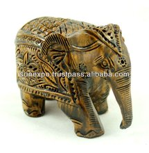 Exquisite Hand Carved Wooden Painted Indian Royal Ethnic Elephant Figurine Statue