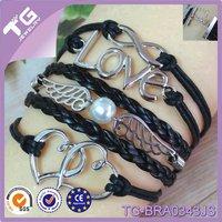 Hot Sale Fashion Infinity Love Pearl Bead Between Angle Wing Double Heart Handmade Pu Leather Bracelets